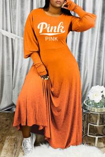 Orange Fashion Casual Letter Print Basic O Neck Long Sleeve Dresses