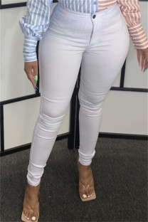 White Fashion Casual Solid Basic Skinny High Waist Pencil Trousers