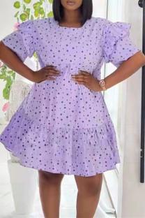 Purple Fashion Casual Dot Print Split Joint O Neck Short Sleeve Dress Dresses