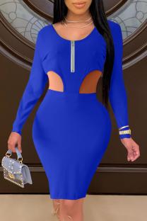 Blue Sexy Solid Hollowed Out Zipper Collar Pencil Skirt Dresses