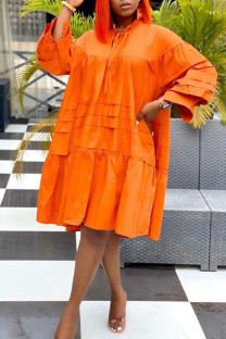 Tangerine Casual Solid Split Joint Frenulum Fold Turtleneck Dresses