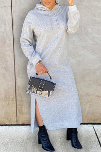 Grey Fashion Casual Solid Slit Hooded Collar Long Sleeve Dresses