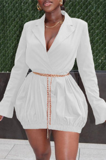 White Fashion Casual Solid Basic Turndown Collar Long Sleeve Dresses (Without Waist Chain)