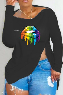 Black Fashion Casual Lips Printed Slit Asymmetrical Off the Shoulder Tops