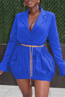 Blue Fashion Casual Solid Basic Turndown Collar Long Sleeve Dresses (Without Waist Chain)