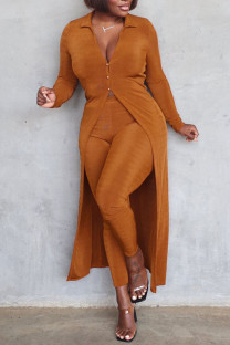Brown Casual Solid Split Joint Buttons Turndown Collar Long Sleeve Two Pieces