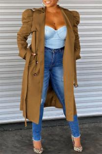Coffee Fashion Casual Solid Cardigan Turndown Collar Outerwear