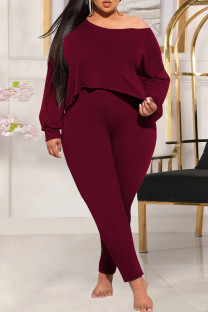 Burgundy Fashion Casual Solid Basic Oblique Collar Plus Size Two Pieces