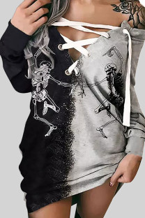 Black Gray Street Punk Print Bandage Split Joint V Neck Tops