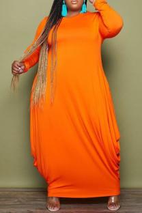 Orange Fashion Casual Solid Basic O Neck Long Sleeve Plus Size Dresses