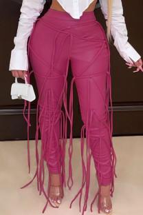 Pink Fashion Casual Solid Tassel Split Joint Regular High Waist Pencil Trousers