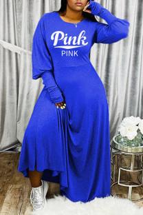 Blue Fashion Casual Letter Print Basic O Neck Long Sleeve Dresses