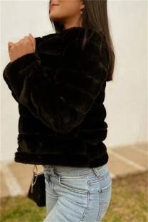 Black Fashion Casual Solid Cardigan Outerwear