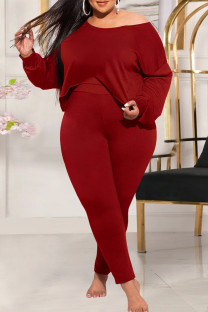 Red Fashion Casual Solid Basic Oblique Collar Plus Size Two Pieces