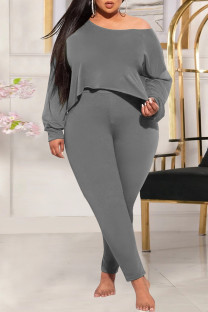 Grey Fashion Casual Solid Basic Oblique Collar Plus Size Two Pieces