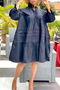 Black Casual Solid Split Joint Frenulum Fold Turtleneck Dresses