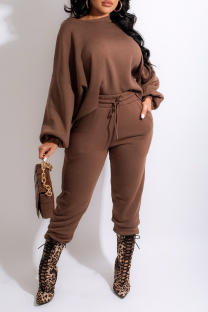 Coffee Casual Solid Split Joint O Neck Long Sleeve Two Pieces