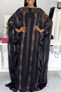 Black Fashion Casual Solid Hot Drill O Neck Long Dress Plus Size Two Pieces