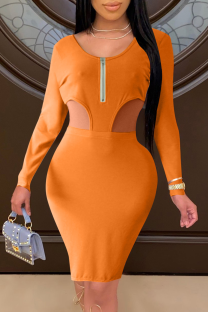 Orange Sexy Solid Hollowed Out Zipper Collar Pencil Skirt Dresses