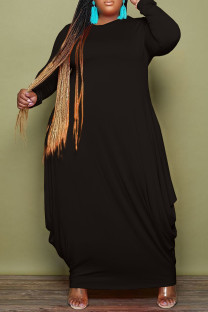 Black Fashion Casual Solid Basic O Neck Long Sleeve Plus Size Dresses