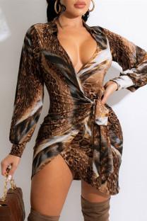 Leopard Print Fashion Casual Print Bandage Turndown Collar Long Sleeve Dresses