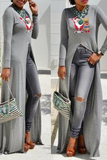 Grey Casual Print Split Joint O Neck Irregular Dress Dresses