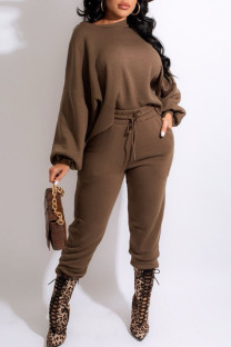 Dark Brown Casual Solid Split Joint O Neck Long Sleeve Two Pieces