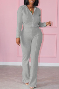 Grey Fashion Casual Solid Split Joint Slit Hooded Collar Long Sleeve Two Pieces