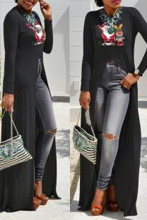 Black Casual Print Split Joint O Neck Irregular Dress Dresses