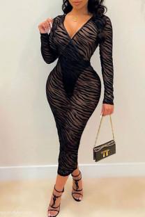 Black Sexy Split Joint See-through V Neck One Step Skirt Dresses