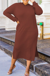 Dark Brown Fashion Casual Solid Slit Hooded Collar Long Sleeve Plus Size Dresses