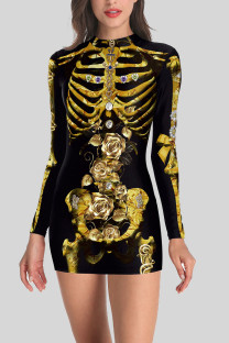 Black Gold Street Punk Print Split Joint O Neck One Step Skirt Dresses