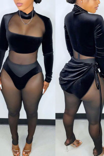 Black Sexy Solid Bandage Split Joint See-through Fold Asymmetrical Long Sleeve Two Pieces
