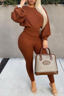 Brown Casual Solid Split Joint O Neck Long Sleeve Two Pieces