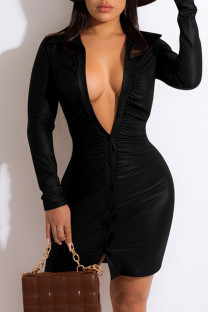 Black Fashion Casual Solid Fold Turndown Collar Long Sleeve Dresses
