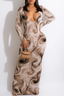 Brown Fashion Casual Print Basic V Neck Long Sleeve Dresses