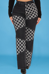 Black Street Plaid Print Split Joint High Waist Straight Denim Jeans