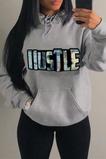 Grey Fashion Casual Letter Print Basic Hooded Collar Plus Size Tops