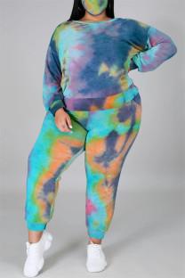 Cyanine Fashion Casual Print Tie Dye Backless O Neck Plus Size Two Pieces