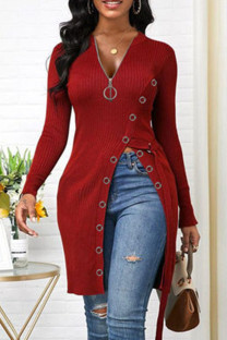 Red Fashion Casual Solid Split Joint V Neck Tops