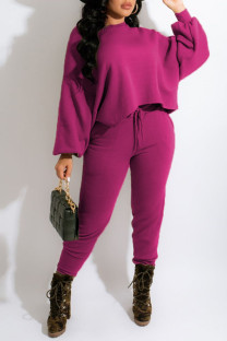 Rose Red Casual Solid Split Joint O Neck Long Sleeve Two Pieces