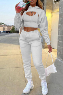 Light Gray Fashion Casual Solid Hollowed Out Hooded Collar Long Sleeve Three-piece Set
