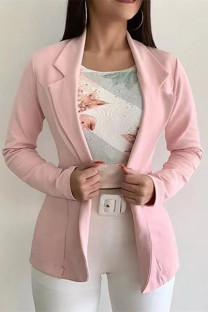 Pink Fashion Casual Solid Cardigan Turndown Collar Outerwear
