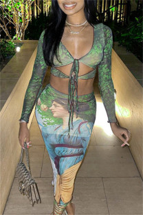Green Fashion Sexy Print Bandage Hollowed Out V Neck Long Sleeve Two Pieces