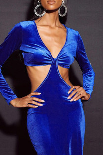 Blue Fashion Sexy Solid Hollowed Out V Neck Long Sleeve Dresses