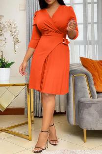 Tangerine Casual Solid Split Joint V Neck Waist Skirt Dresses