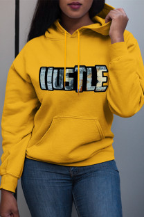 Yellow Fashion Casual Letter Print Basic Hooded Collar Plus Size Tops
