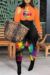 Orange Fashion Casual Print Split Joint O Neck Plus Size Jumpsuits