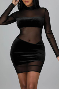 Black Sexy Solid Split Joint See-through Mesh Half A Turtleneck One Step Skirt Dresses