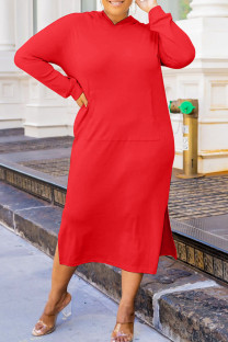Red Fashion Casual Solid Slit Hooded Collar Long Sleeve Plus Size Dresses
